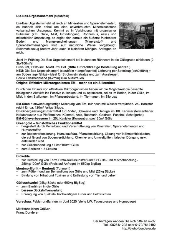 Informationen Vertrieb landw. Hilfsstoffe